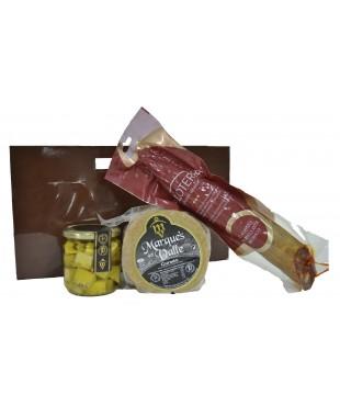 Lote nº 15:  Queso Curado 1kg. + Tarro de Queso Curado de Oveja en Aceite de Oliva + Chorizo Ibérico de Bellota 500gr.