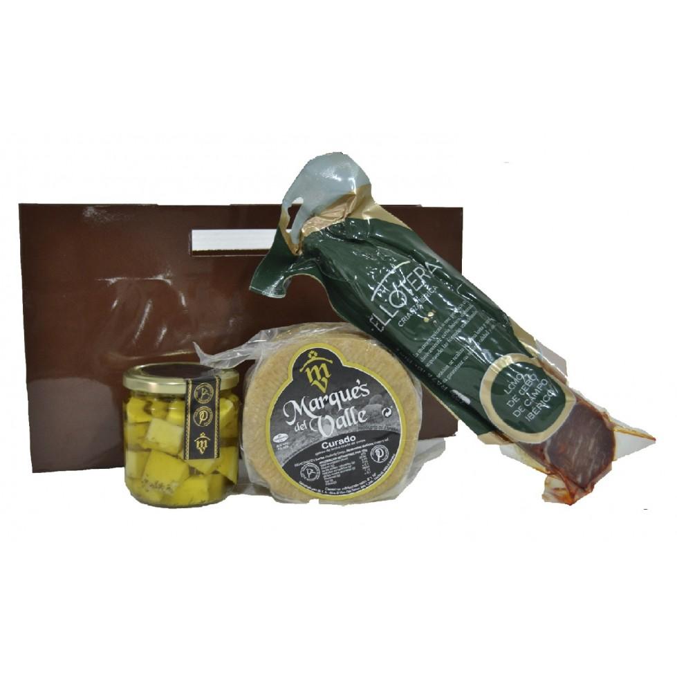 Lote nº 17:  Queso Curado 1kg. + Tarro de Queso Curado de Oveja en Aceite de Oliva + Salchichón Ibérico de Bellota 500gr.