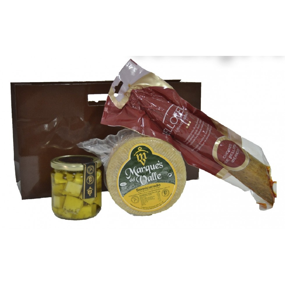 Lote nº 18:  Queso Semicurado 1kg. + Tarro de Queso Curado de Oveja en Aceite de Oliva + Chorizo Ibérico de Bellota 500gr.