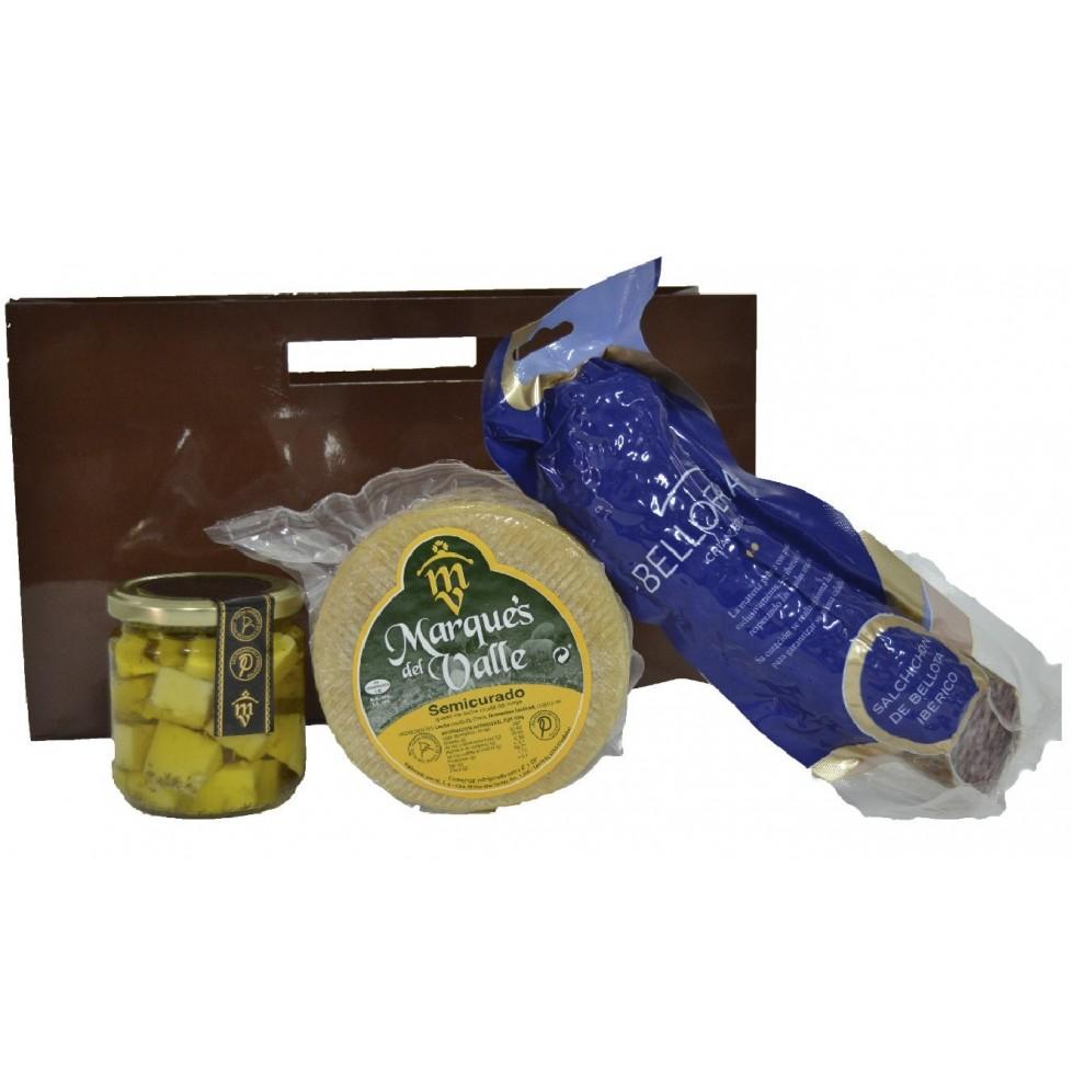 Lote nº 19:  Queso Semicurado 1kg. + Tarro de Queso Curado de Oveja en Aceite de Oliva + Salchichón Ibérico de Bellota 500gr.