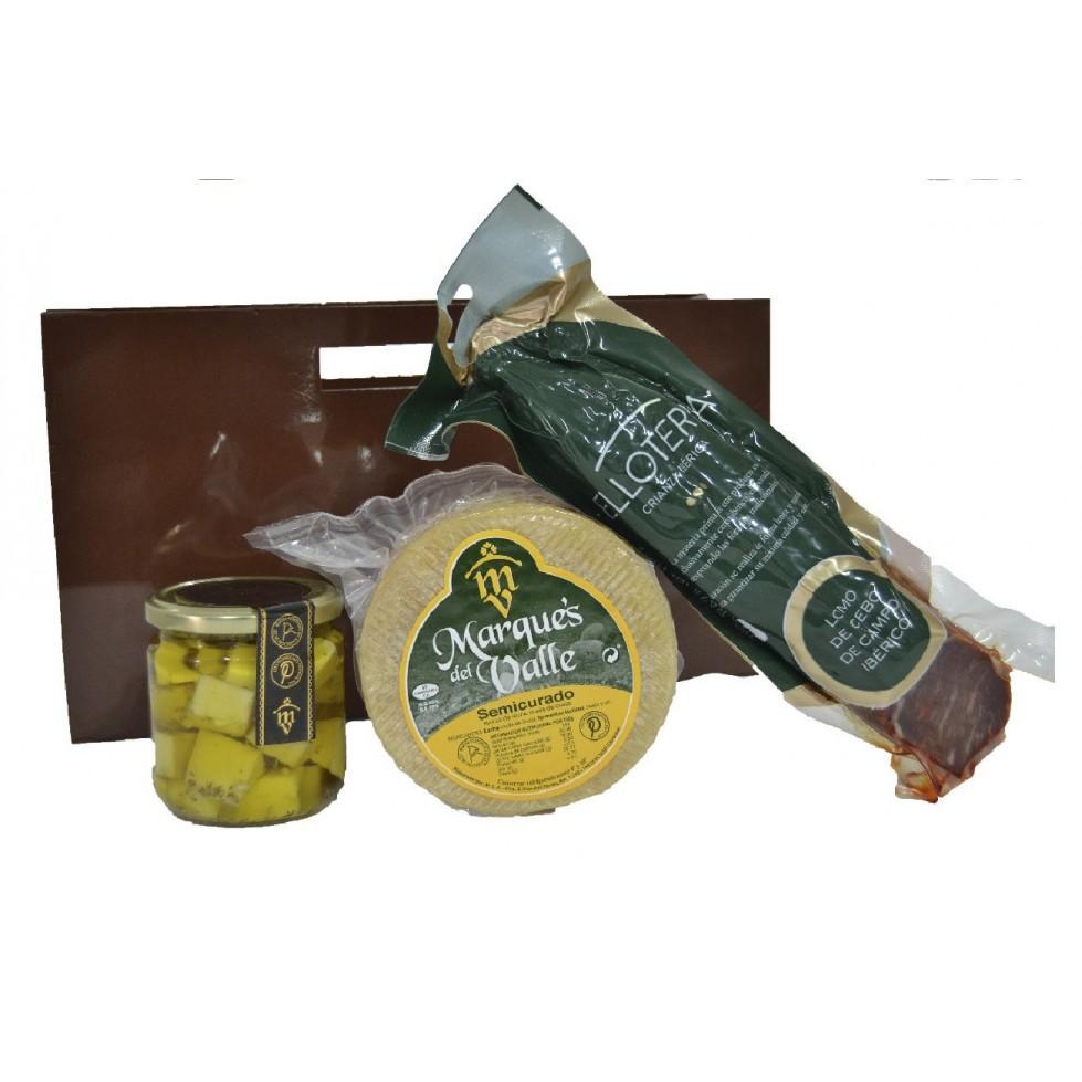 Lote nº 20:  Queso Semicurado 1kg. + Tarro de Queso Curado de Oveja en Aceite de Oliva + Lomo de Cebo de Campo Ibérico 500gr.