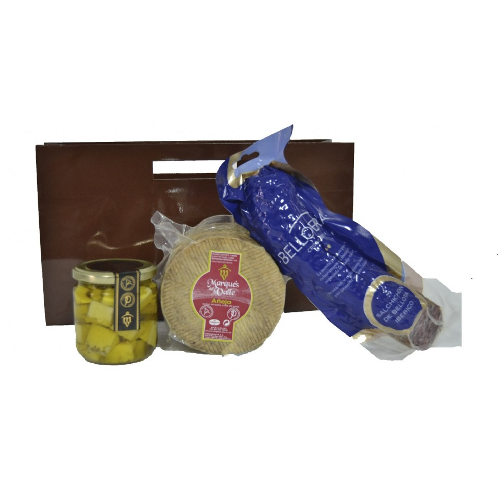 Lote nº 22:  Queso Añejo 1kg. + Tarro de Queso Curado de Oveja en Aceite de Oliva + Salchichón Ibérico de Bellota 500gr.